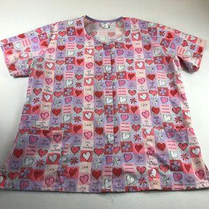 Fundamentals by White Swan Womens Scrub Top Size XL Snap Front Valentines